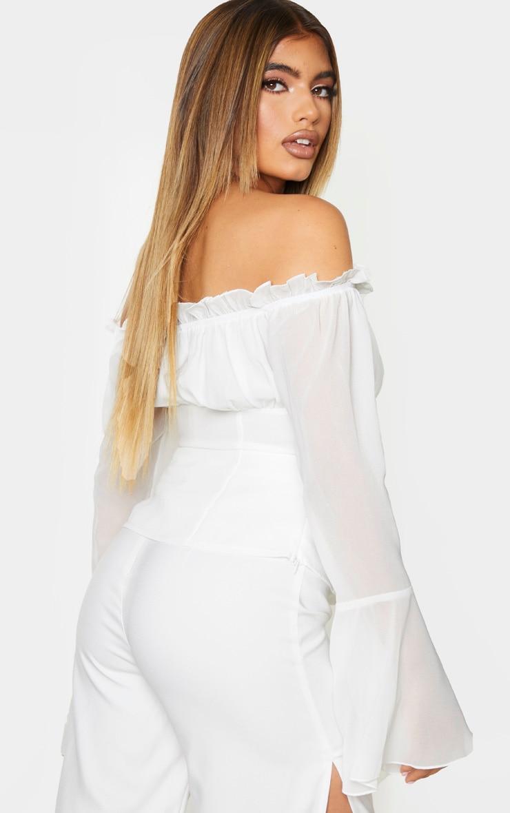 White Chiffon Bardot Longline Top 2