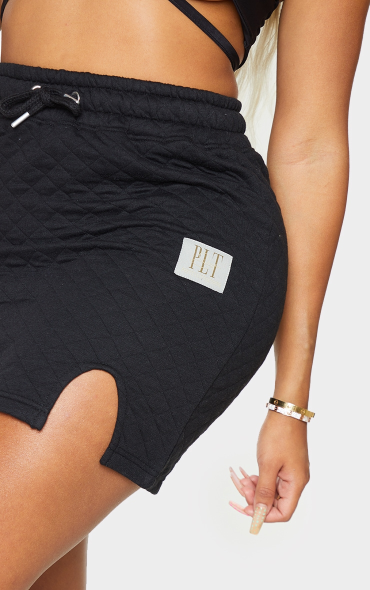 PRETTYLITTLETHING Shape Black Quilted Drawstring Bodycon Skirt 5