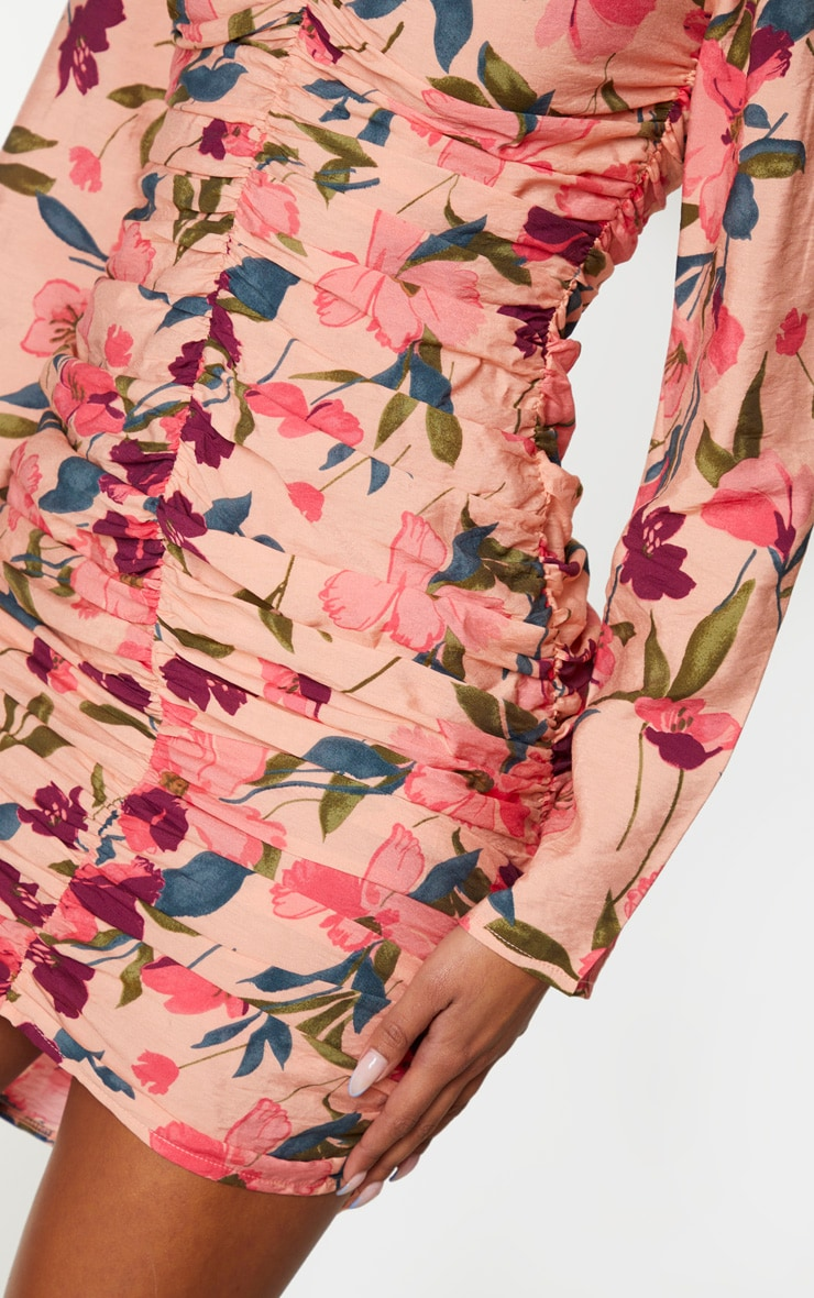 Peach Floral Print Ruched Front Bodycon Dress 4