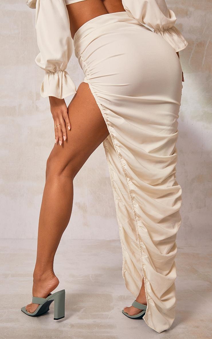 Cream Woven Ruched Side Detail Split Leg Midaxi Skirt 3