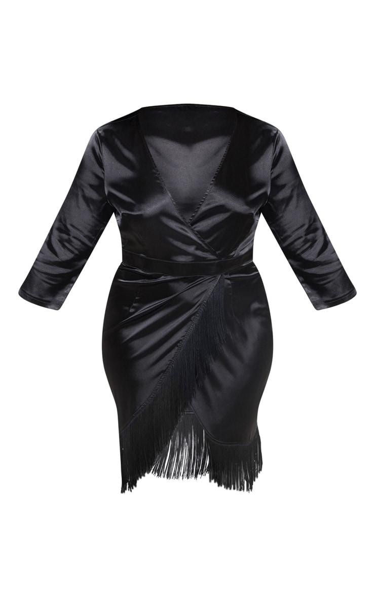 Plus Black Satin Wrap Tassel Hem Midi Dress 3