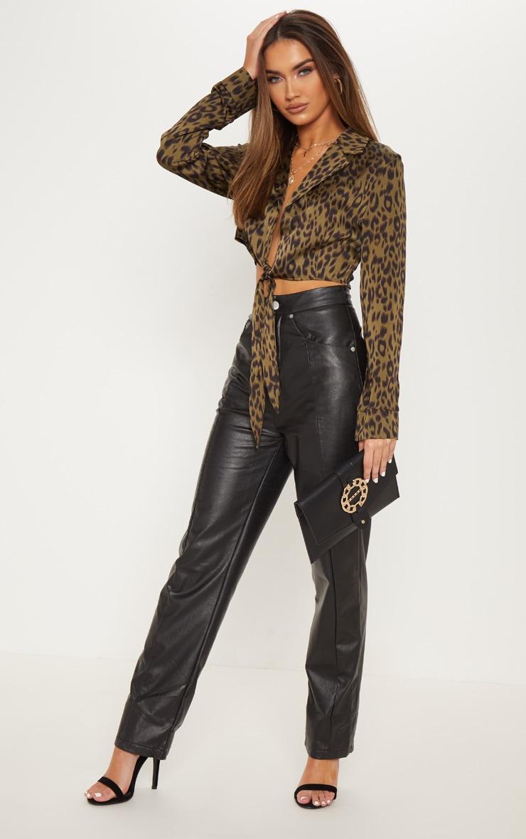 Khaki Leopard Tie Front Crop Shirt 4