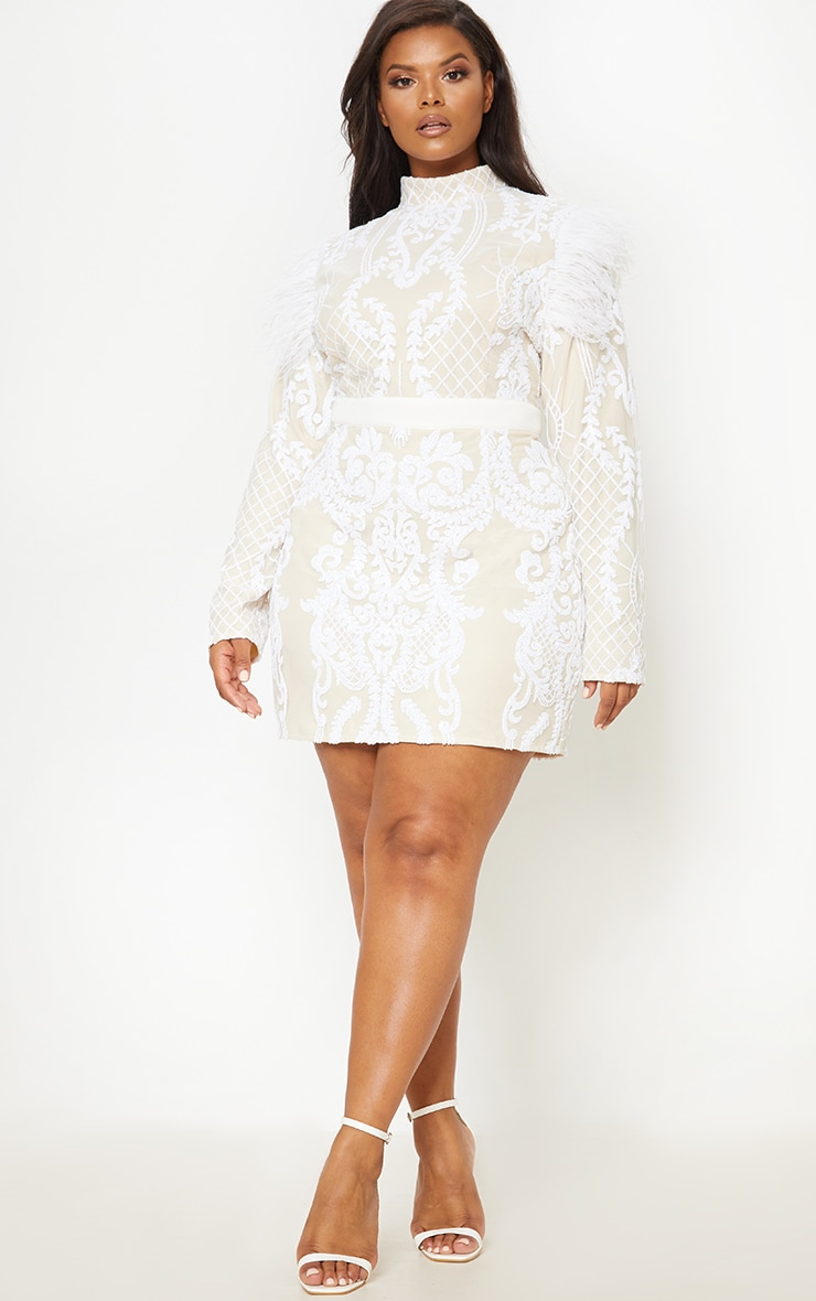 White Sequin Feather Shoulder Detail Bodycon Dress 5
