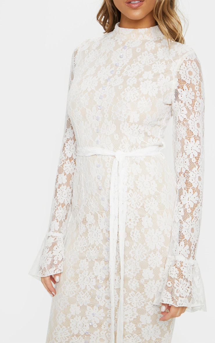 White Lace Button Detail Frill Hem Midi Dress 5