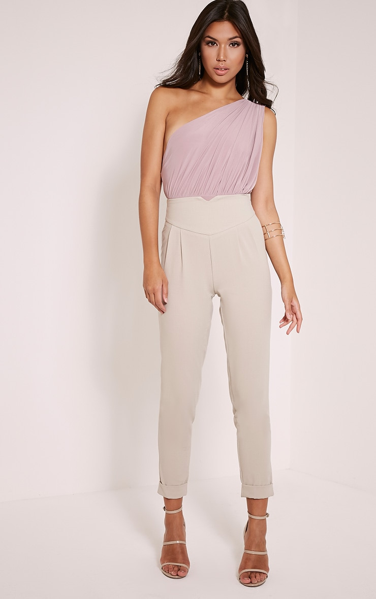 Petite Elenor Stone High Waisted Tapered Trousers 1