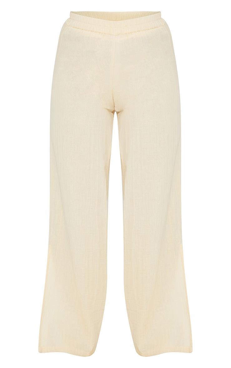 Beige Textured Cotton Split Hem Wide Leg Pants 5