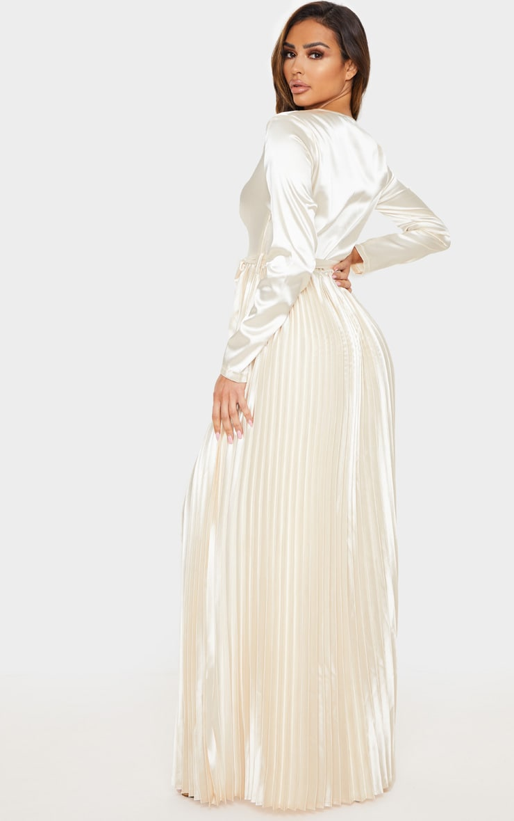 Champagne Satin Pleated Maxi Dress 2