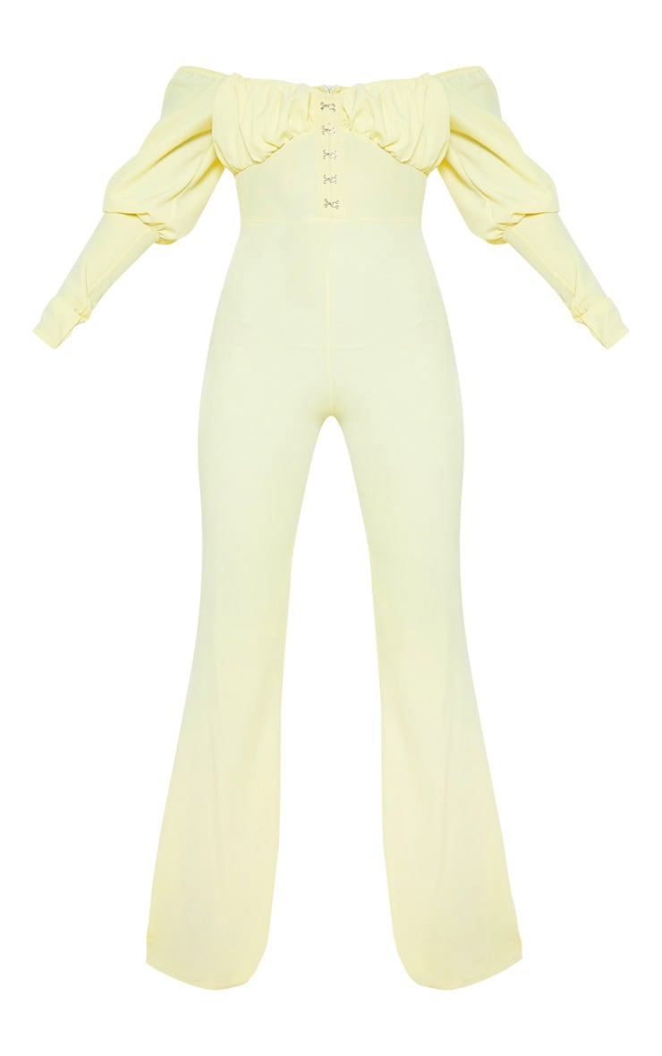 Lemon Ruched Flare Leg Bardot Jumpsuit 3