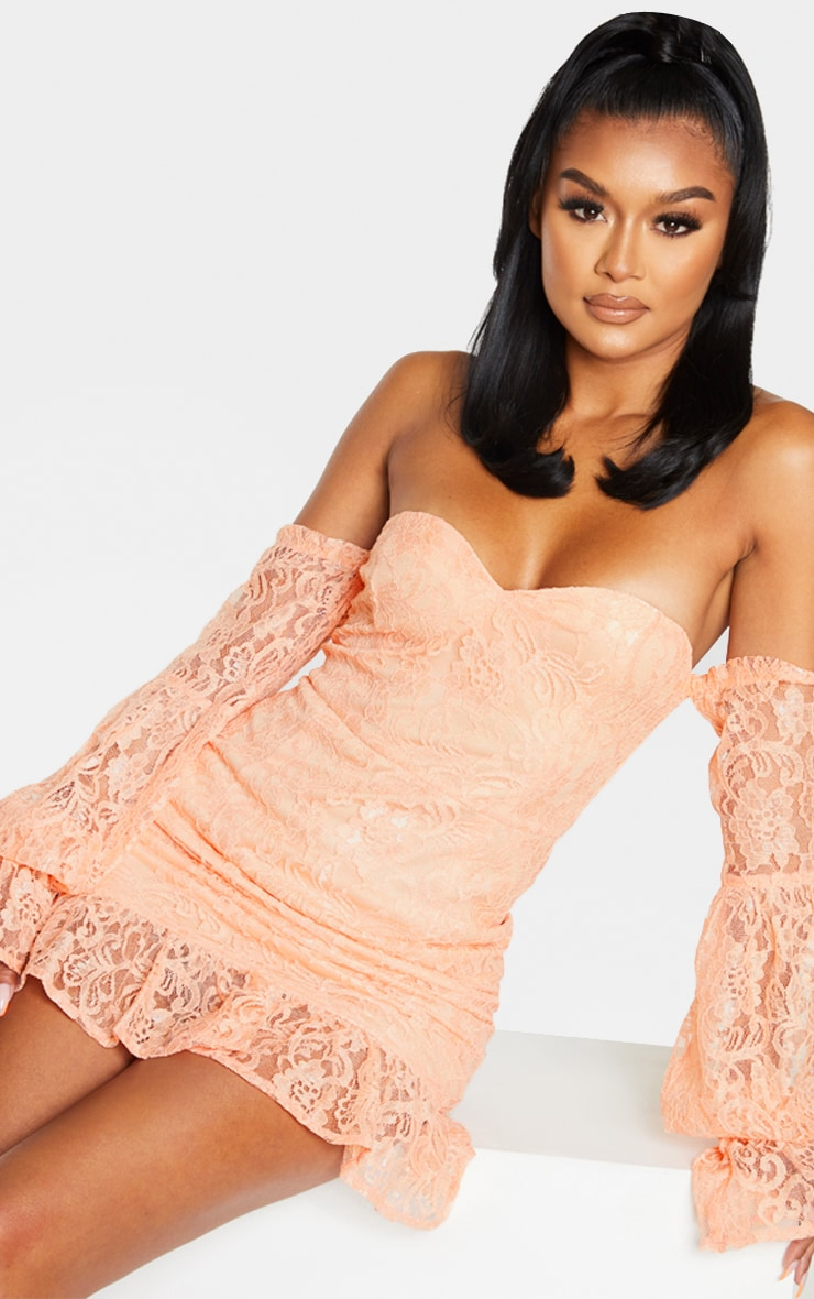 Peach Lace Bardot Puff Sleeve Bodycon Dress 3
