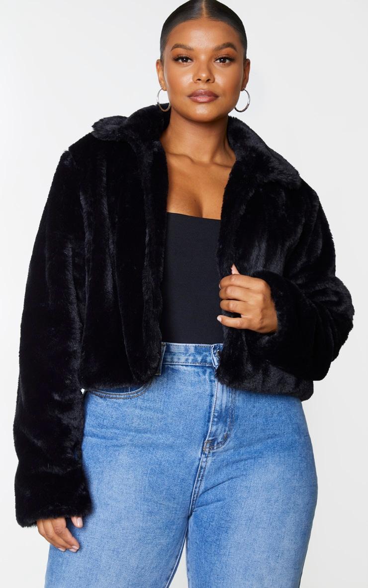 Plus Black Cropped Faux Fur Coat 3