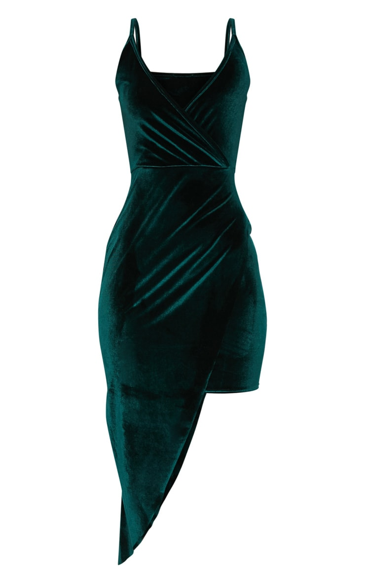Emerald Green Velvet Draped Midi Dress 3