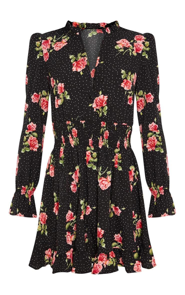 Black Floral Polka Dot Shirred Waist Shirt Dress 3