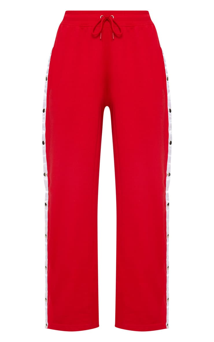 Red Contrast Stripe Popper Joggers 3