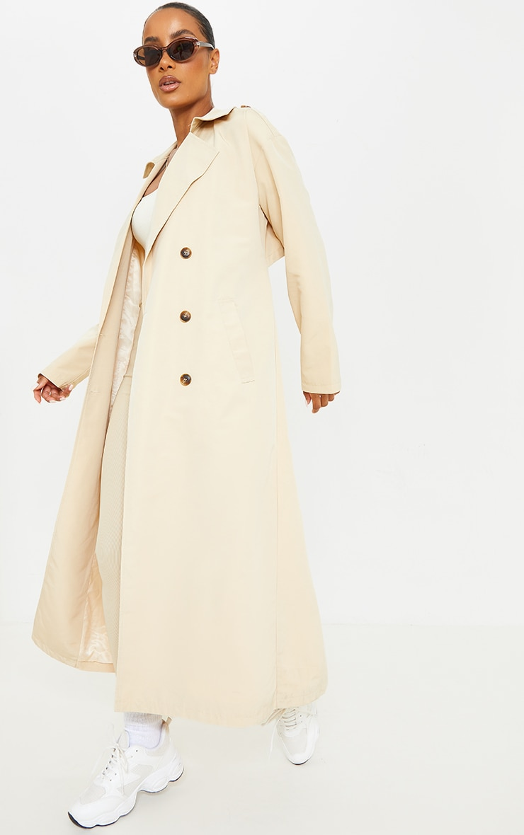 Stone Woven Cut Out Back Maxi Trench 3