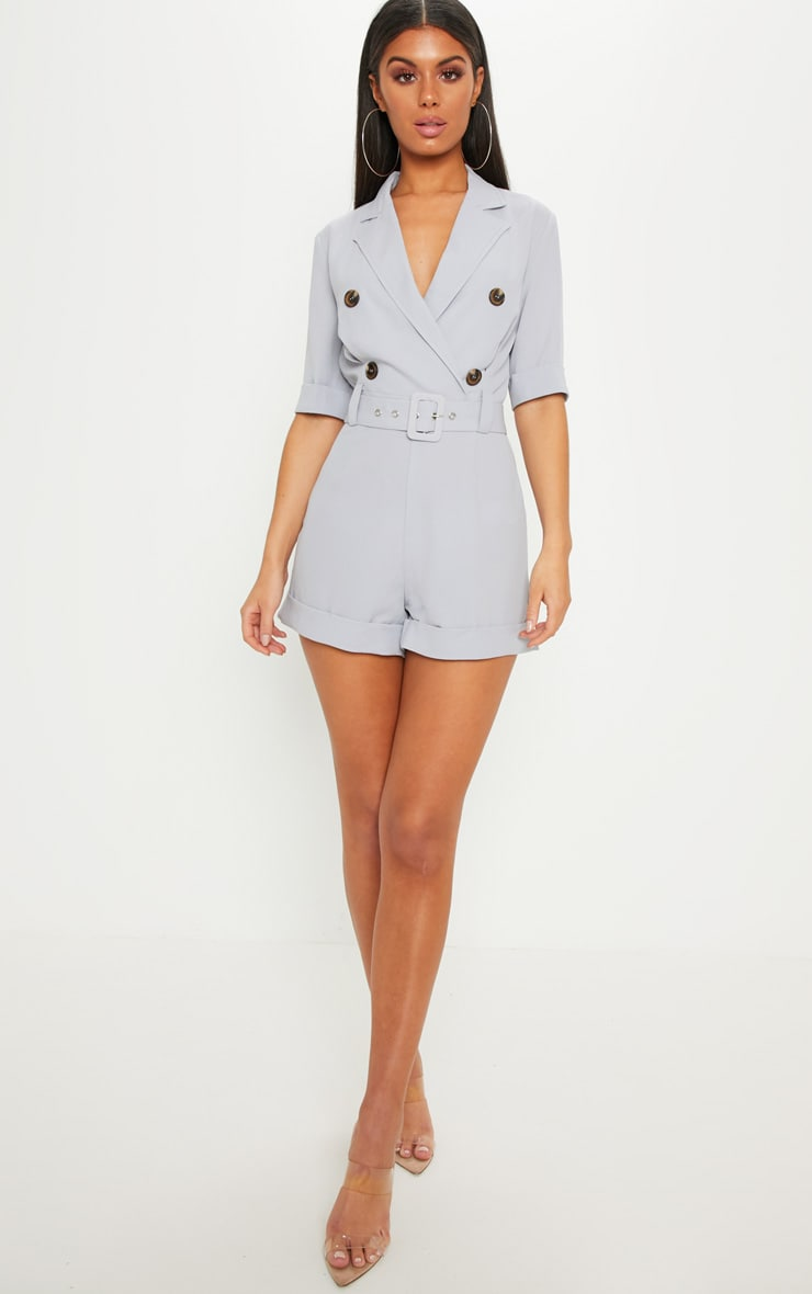 Ice Grey Brushed Satin Tortoiseshell Button Playsuit 1
