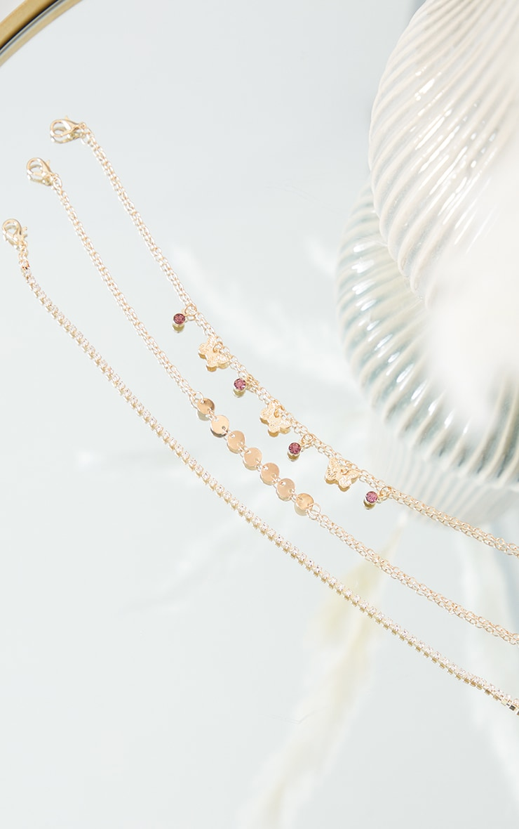 Gold Assorted Diamante Dainty Butterfly Anklet 2