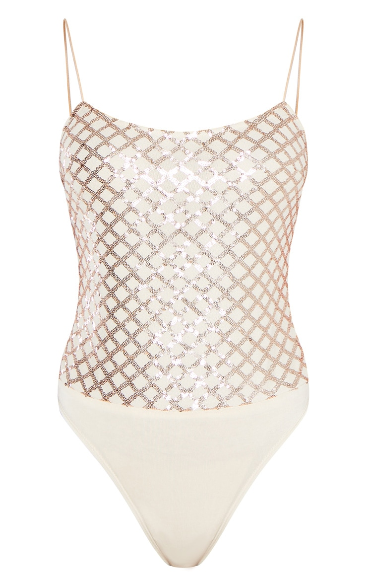 Rose Gold Strappy Sequin Straight Neck Bodysuit 3
