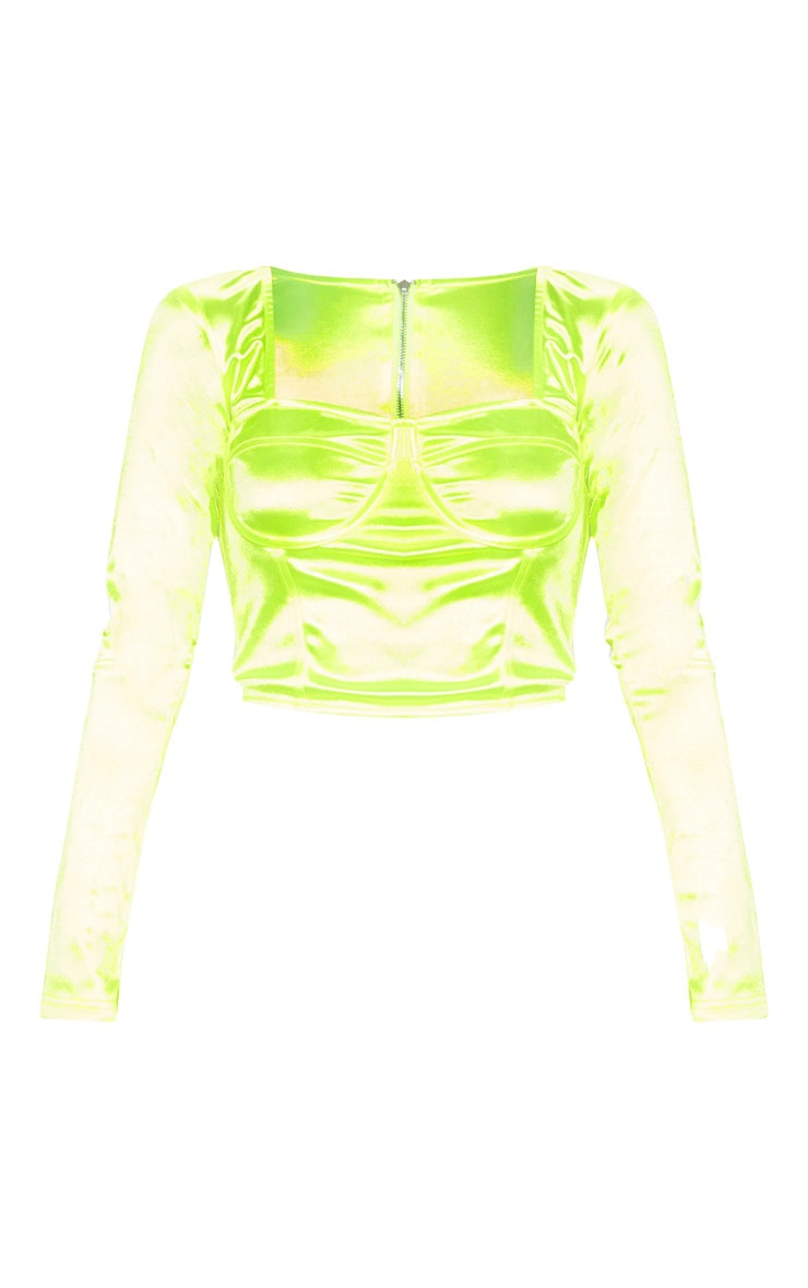Neon Lime Satin Bust Detail Corset Top  3