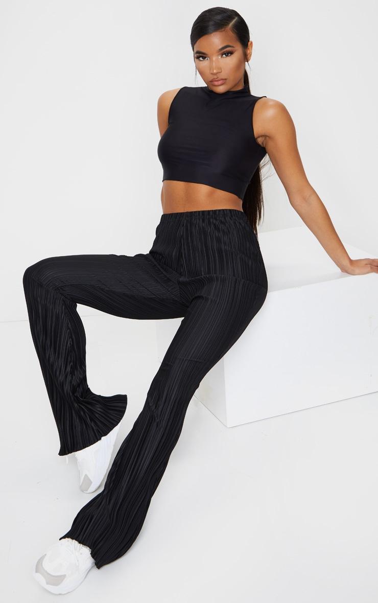Black Plisse Flared Pants 1