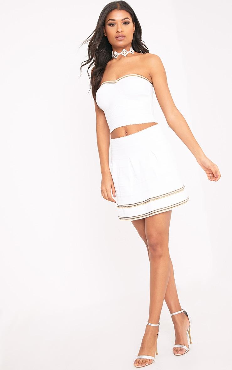 Calvina White Beaded Hem Bandage Skirt  5