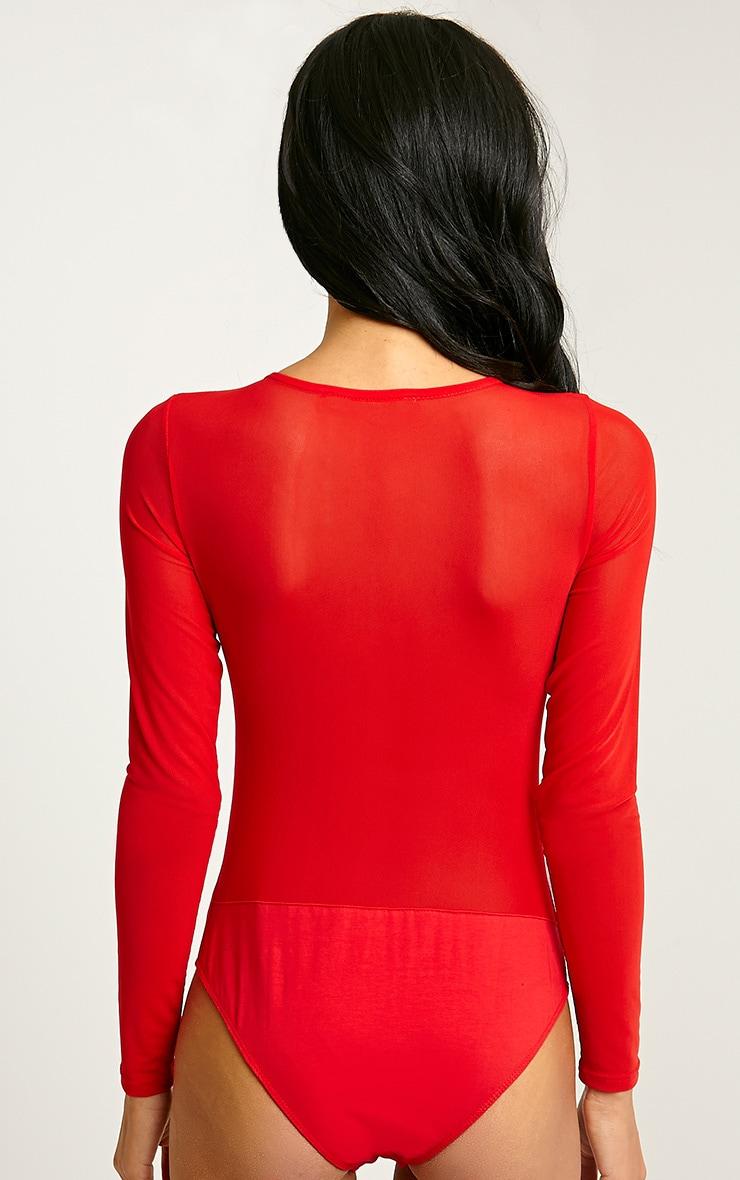 Dyna Red Mesh Insert Bodysuit 5