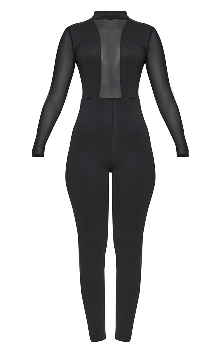 Whitney Black Mesh Scuba Jumpsuit  3