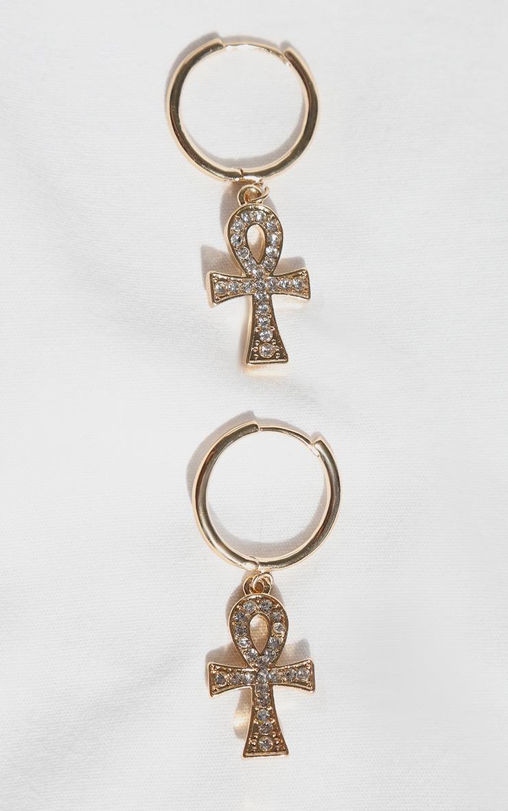 Gold Diamante Ank Hoop Earrings 2