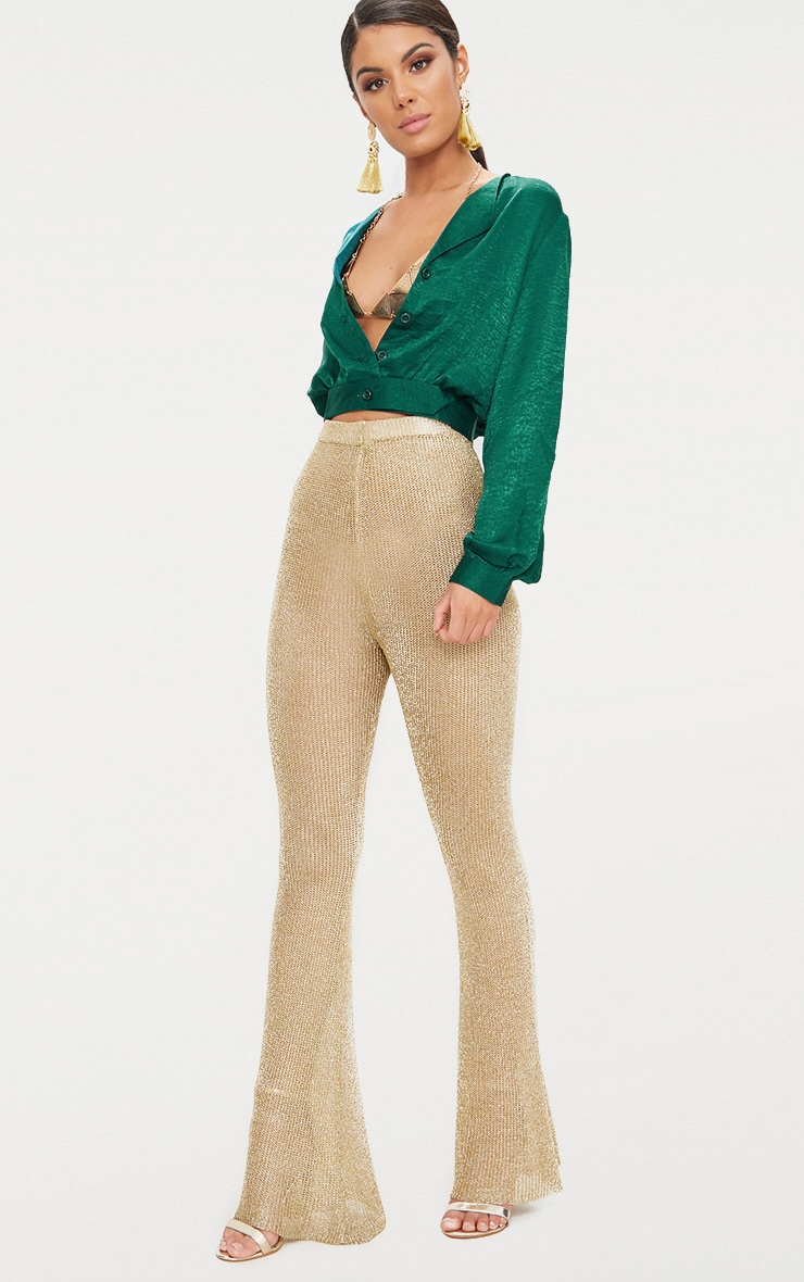 green Satin Button Front Crop Shirt  4
