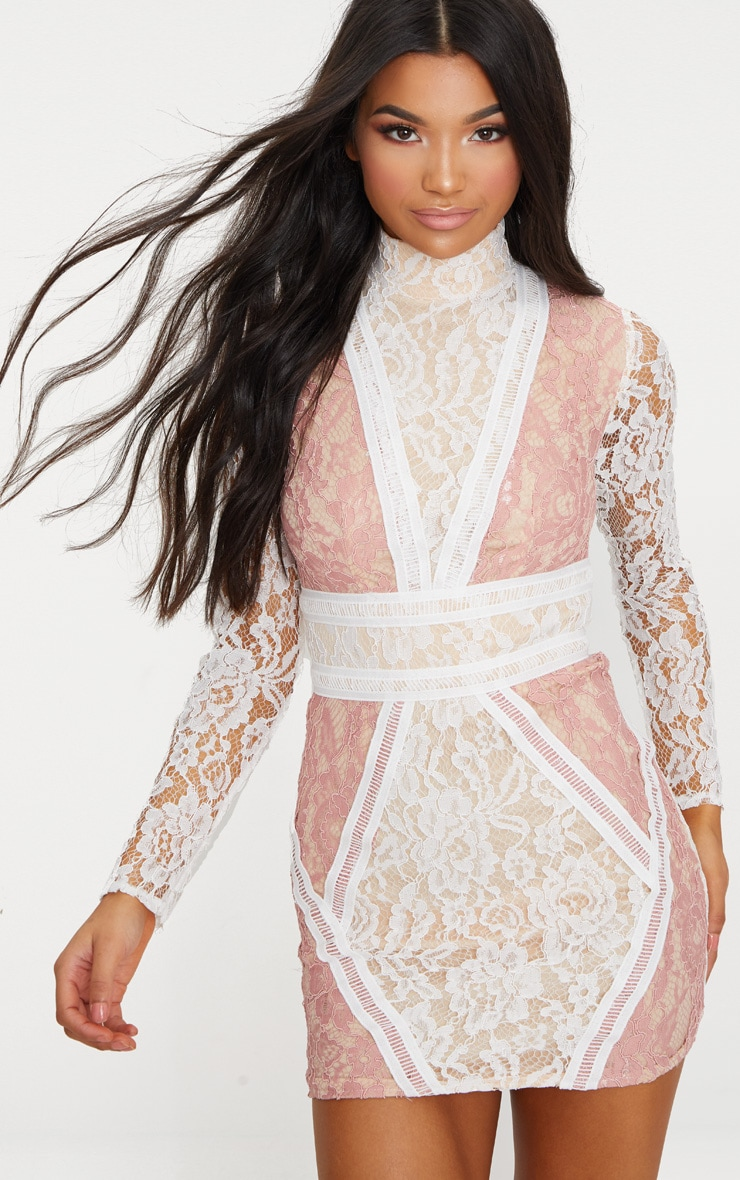White High Neck Long Sleeve Contrast Lace Bodycon Dress 4