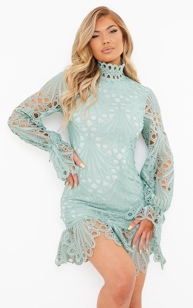 Sage Green High Neck Lace Long Sleeve Frill Bodycon Dress 1