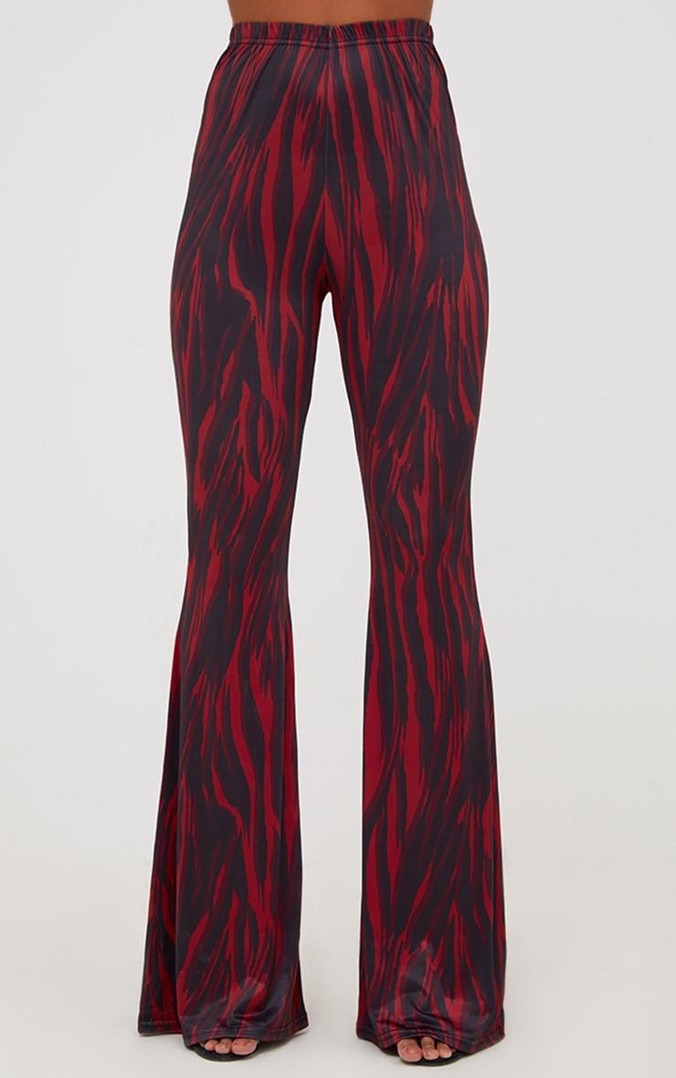 Red Zebra Slinky Flared Pants 2