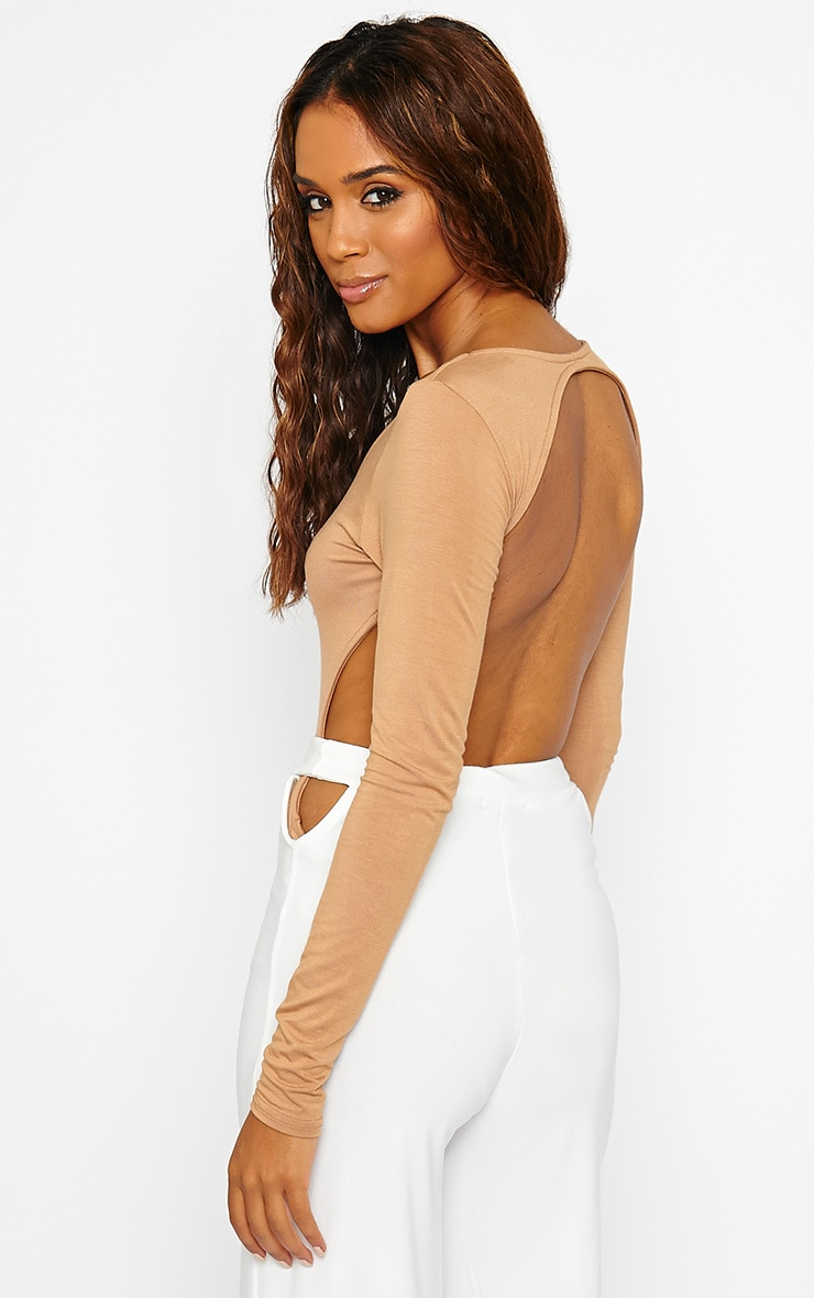 Basic Camel Backless Jersey Bodysuit 1