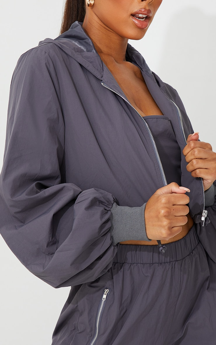 Grey Oversized Zip Up Cropped Hooded Jacket 4