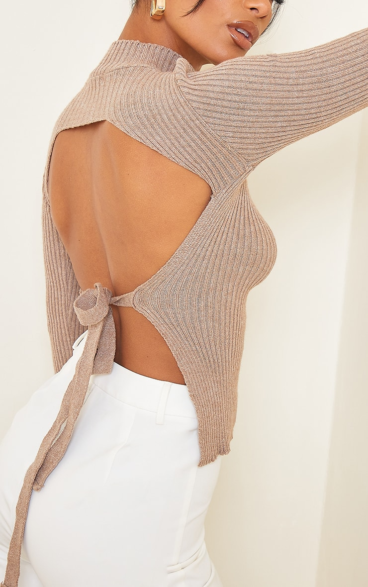 Mocha Tie Back Knitted High Neck Top 4