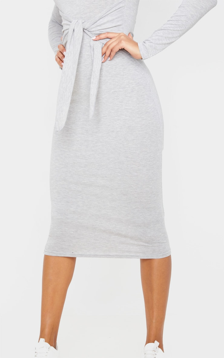 Grey Tie Waist Long Sleeve Midi Dress 5