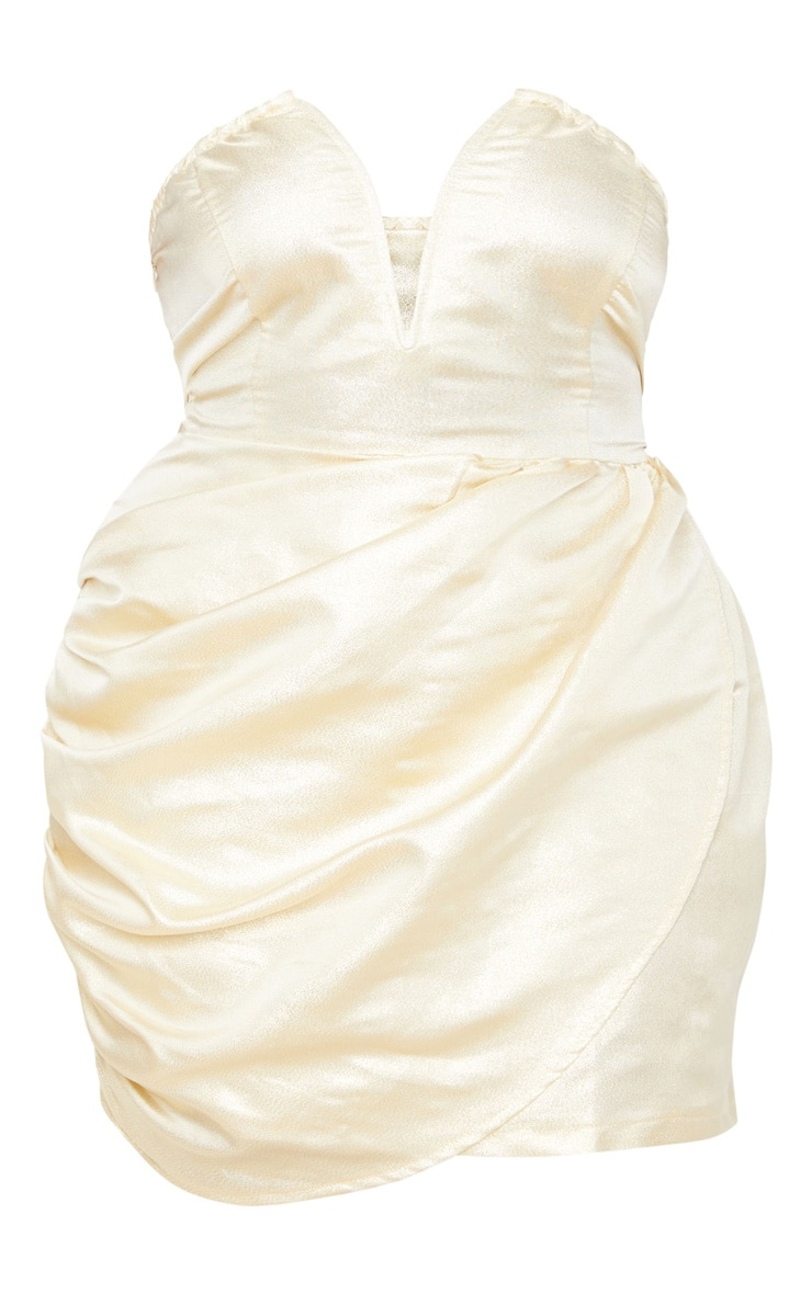 Plus Champagne Textured V Bar Bandeau Ruched Bodycon Dress  3