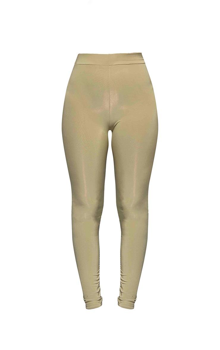 Khaki Slinky High Waisted Leggings 5
