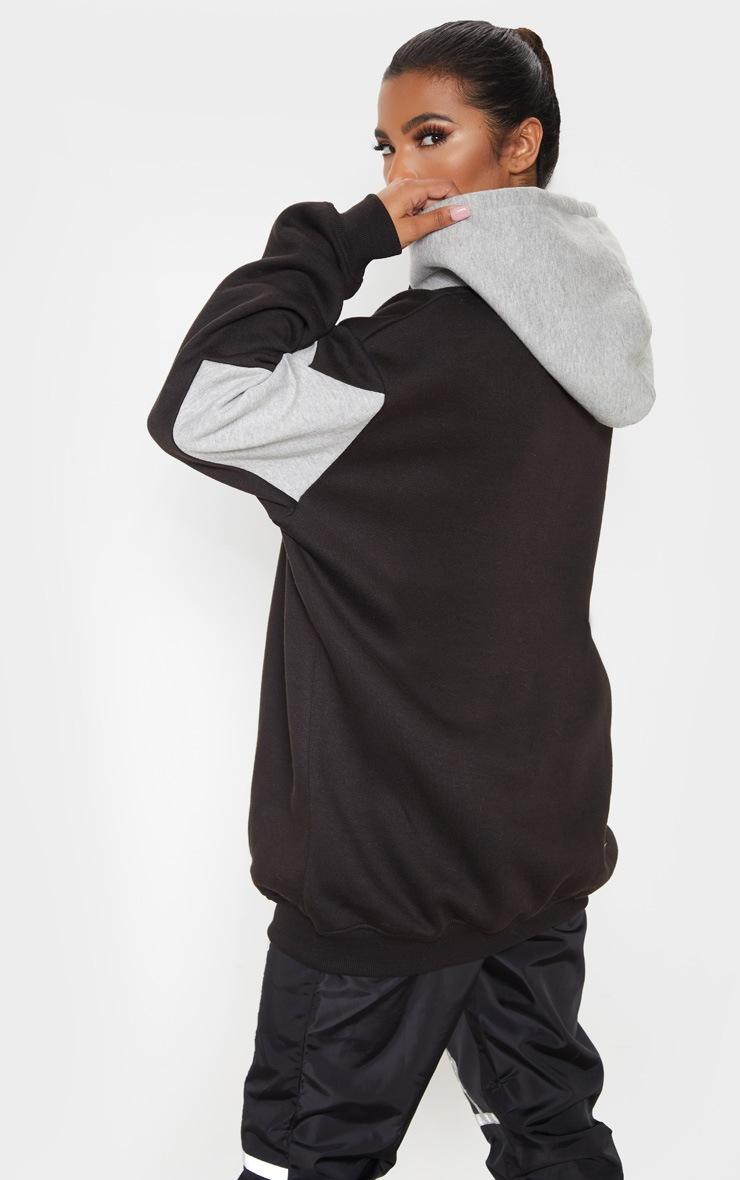 Black Contrast Oversized Hoodie 2
