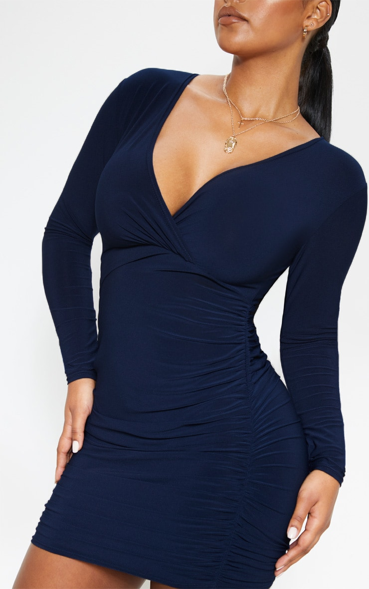 Navy Slinky Wrap Bust Ruched Side Bodycon Dress 5