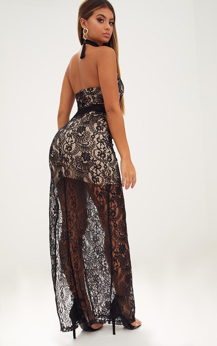 Black High Neck Lace Maxi Dress 2