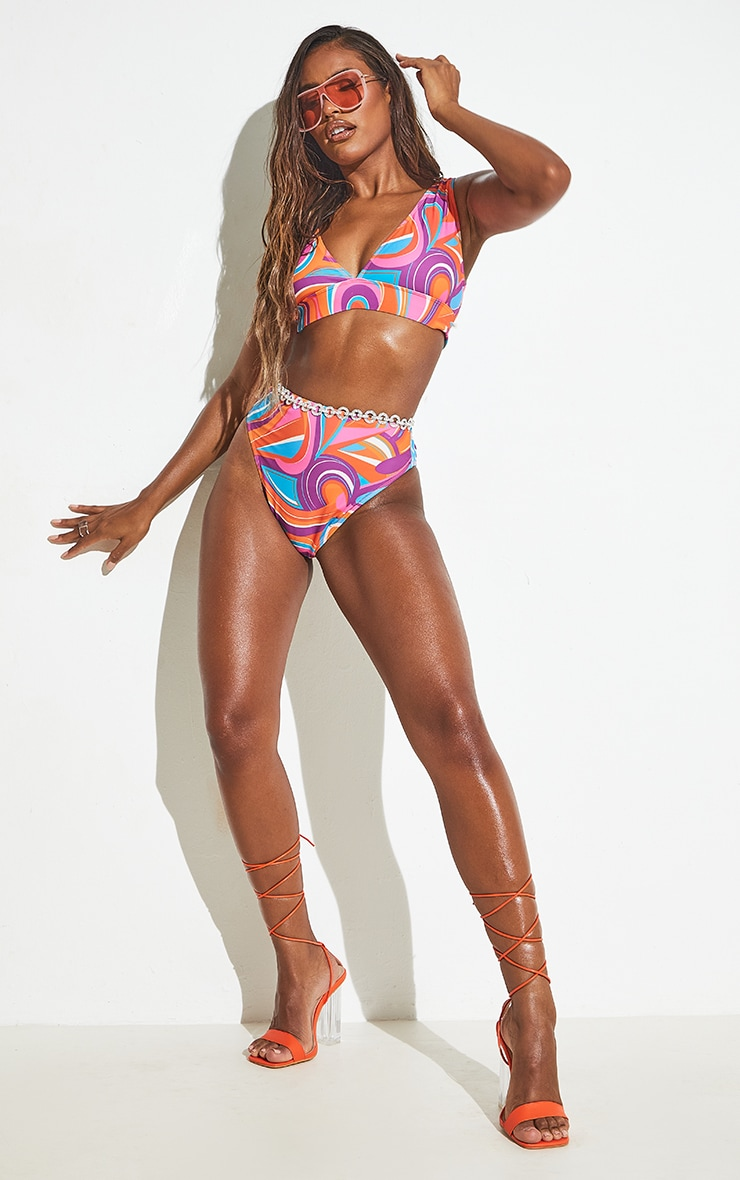 Pink Print High Waist High Leg Bikini Bottoms 6