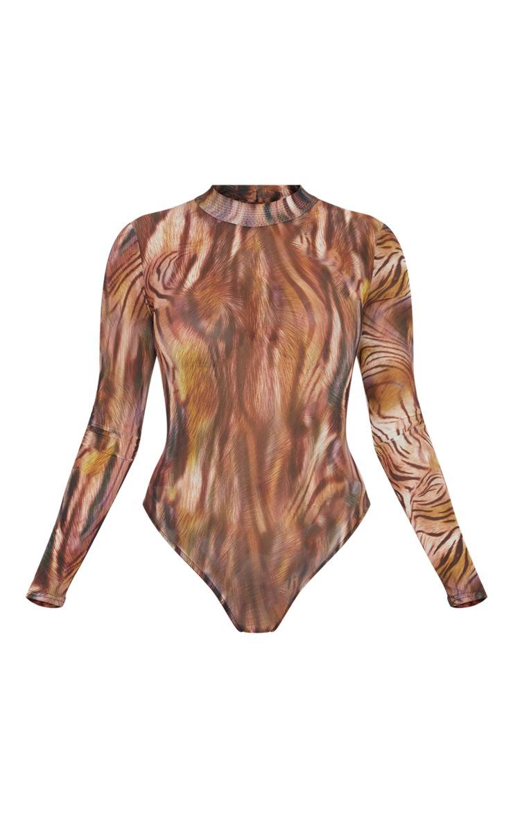 Brown Printed Mesh High Neck Long Sleeve Bodysuit 3