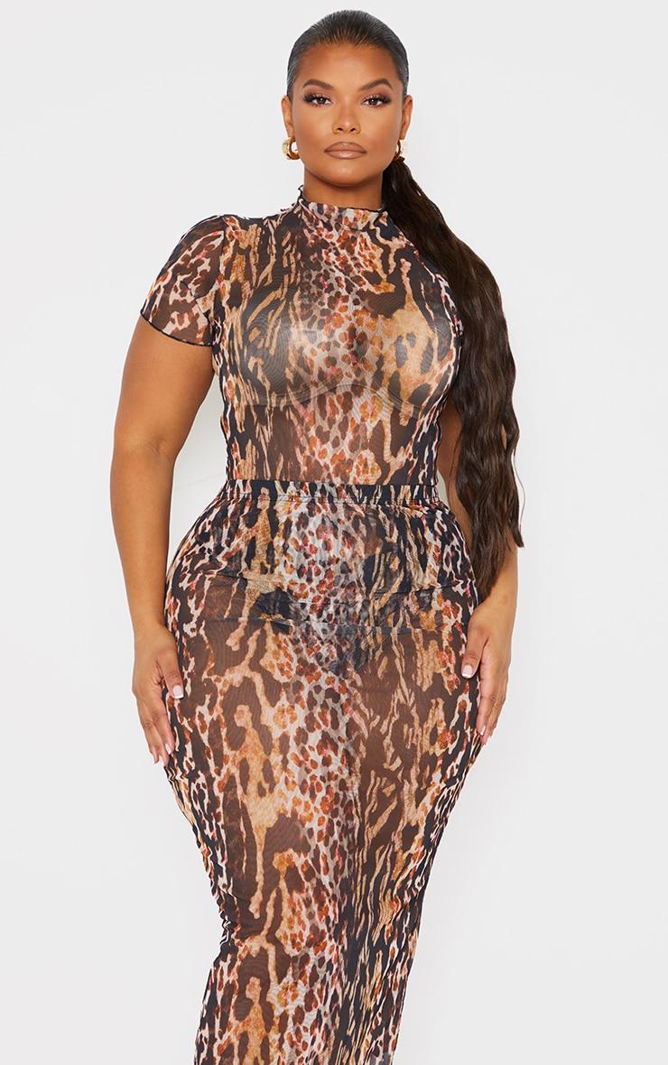 Plus Brown Leopard Print High Neck Mesh Bodysuit 3