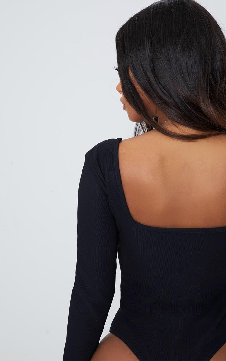 Shape Black Ribbed Square Neck Bodysuit 6