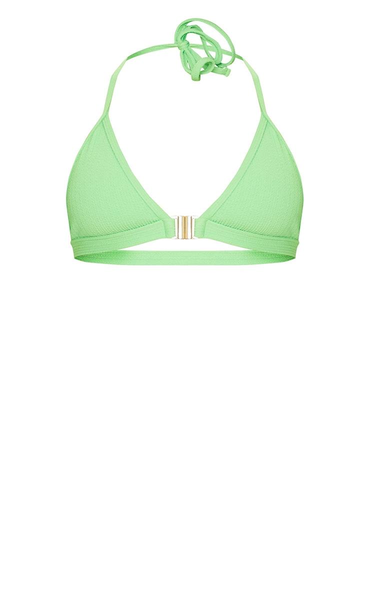 Green Crinkle Front Clasp Triangle Bikini Top 5