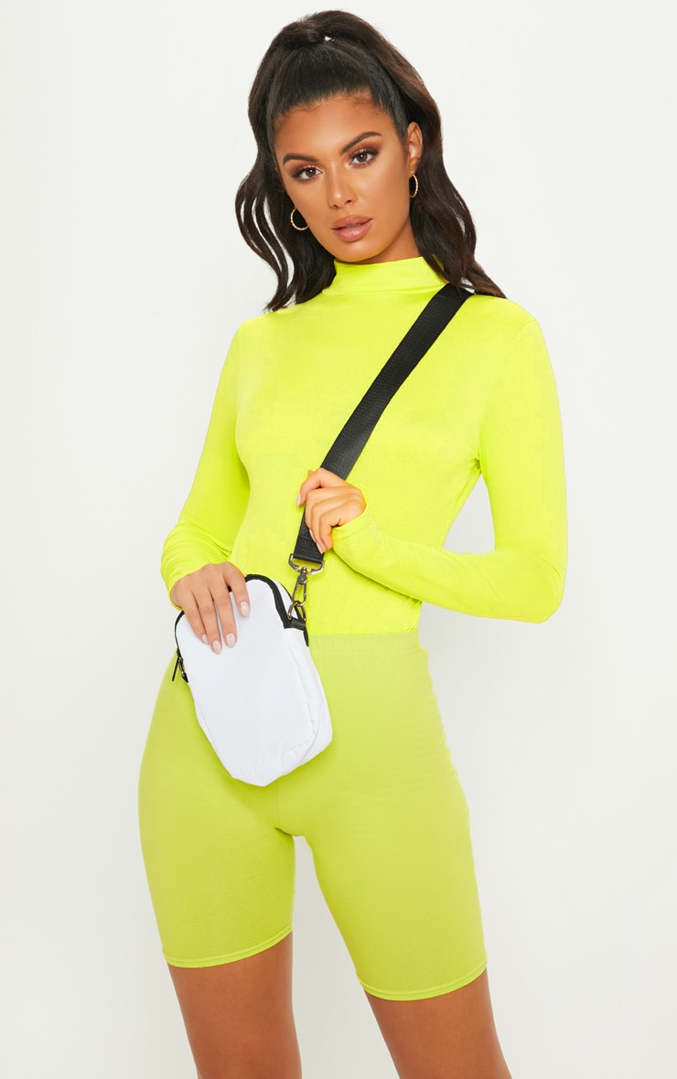 Neon Lime High Neck Jersey Long Sleeve Bodysuit  5
