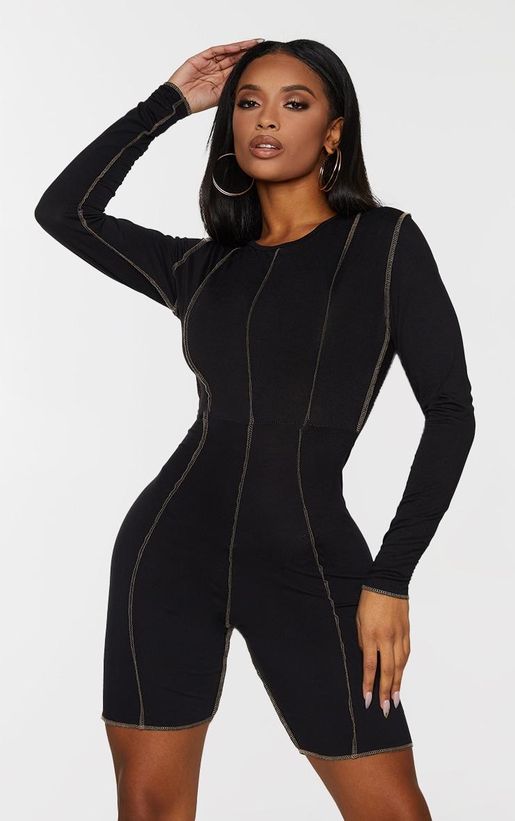 Shape Black Jersey Overlock Stitch Detail Low Back Unitard 3