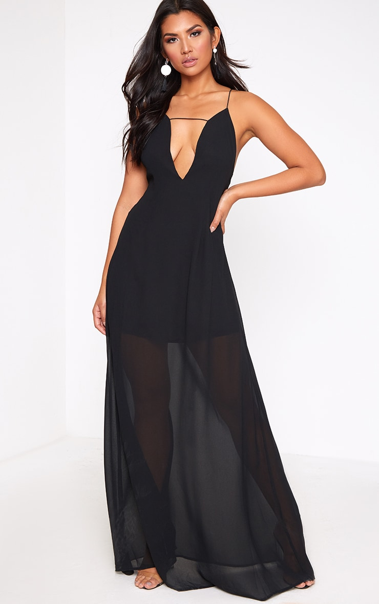 Black Knot Back Maxi Dress 1