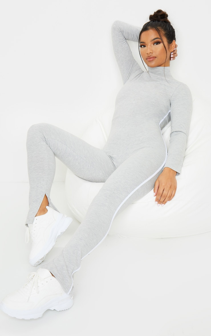 Grey Sports Stripe High Neck Jumpsuit 1