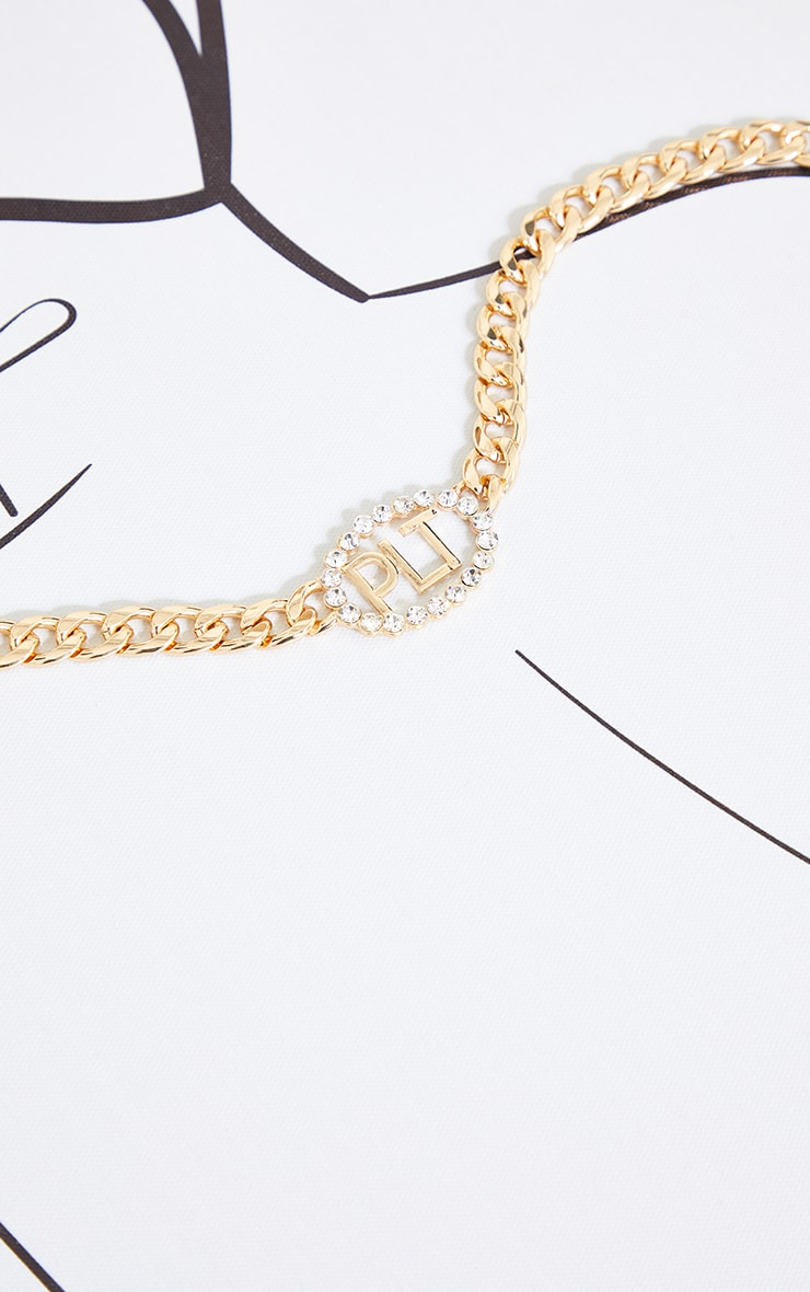 PRETTYLITTLETHING Gold Diamante Chain Necklace 3